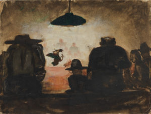 Chicken Fight, ca. 1948, oil